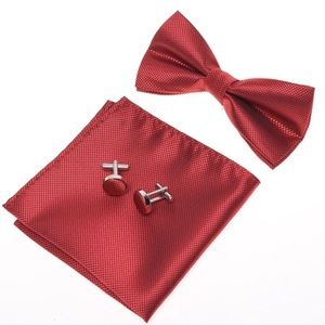 Other - Red bow tie, pocket square, cuff link 3 pc set